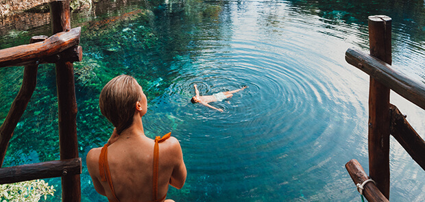 Couple enjoying cenote